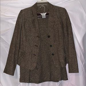 Brown tweed skirt suit